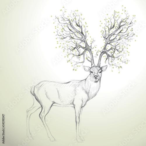 Obraz Jeleń z poroża jak drzewo, realistyczny szkic - fototapety do salonu
