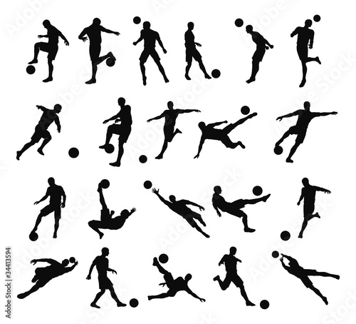 Fotografie, Tablou  Soccer football player silhouettes