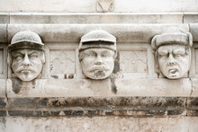Famous Faces On The Side Protal Of Sibenik Cathedral