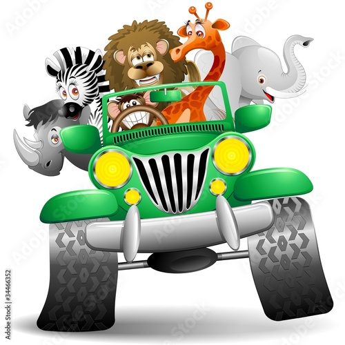 Ingelijste posters Zoo Geep con Animali Selvaggi Cartoon-Savannah Wild Animals On Jeep