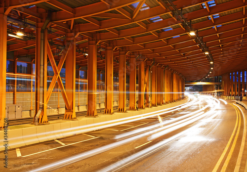 Canvas Prints Narrow alley traffic through tunnel