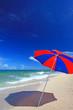 美しい海に立つビーチパラソル