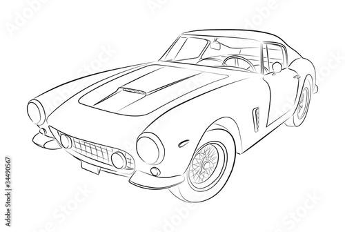 Staande foto Cartoon cars Luxury european sport oldtimer vector drawing