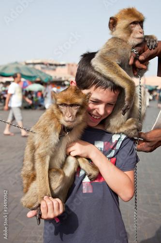 Marrakech : Dresseur de singes Magot Canvas Print