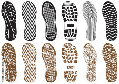 Vector illustration set of footprints. Canvas Print