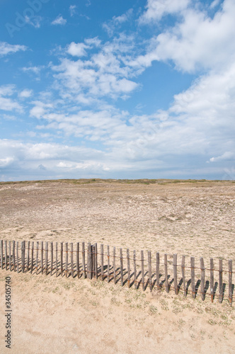 Fotografie, Obraz  Dunes landscape with fence near Quiberon on Cote Sauvage