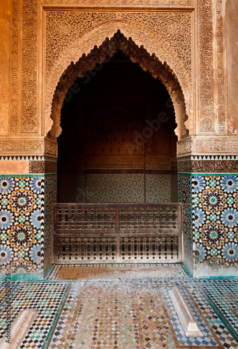Detail of an ornate stone alcove inside a mosque Wallpaper Mural