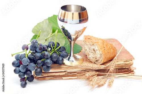 Fotografie, Obraz  Holy communion elements on white background