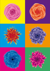 Panel Szklany flower power / blumen pop art