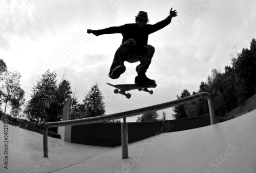 Silhouette de skateboard Poster