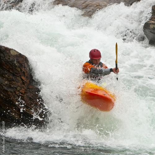 Fotografie, Obraz  Kayaker in the waterfall