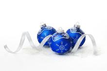 Blue Christmas Balls With Ribbon