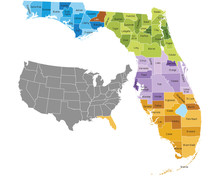Florida State Counties Map Wit...
