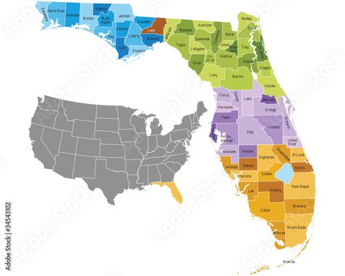 Florida state counties map with boundaries and names Wallpaper Mural