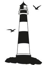 Küstenlandschaft Leuchtturm Möwen Silhouette