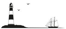 Küstenlandschaft Leuchtturm Segelboot Silhouette
