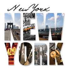 NYC New York City Graphic Mont...