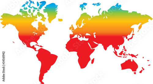 Garden Poster World Map world map in rainbow colors