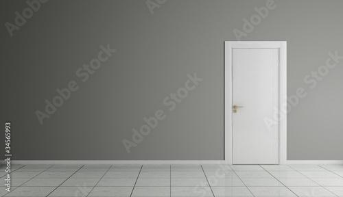 Fototapeta 3d interno vuoto con porta obraz na płótnie
