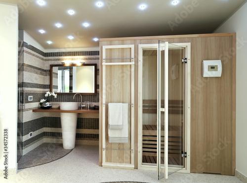 bagno moderno con sauna - Buy this stock photo and explore similar ...