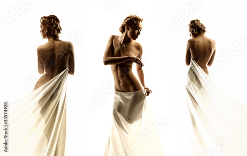 woman on isolated background Canvas Print
