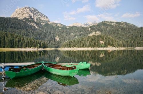 Stampa su Tela The boat in lake