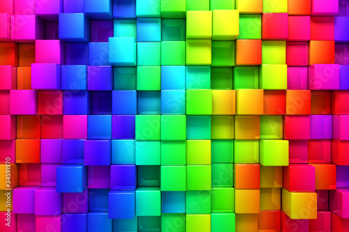Rainbow of colorful boxes © Leigh Prather