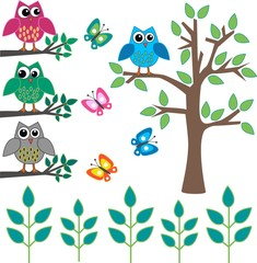 Fototapeta owls butterflies and trees
