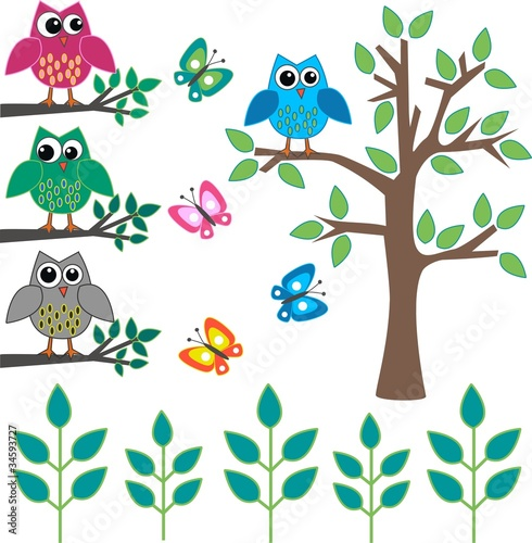 owls butterflies and trees - 34593727