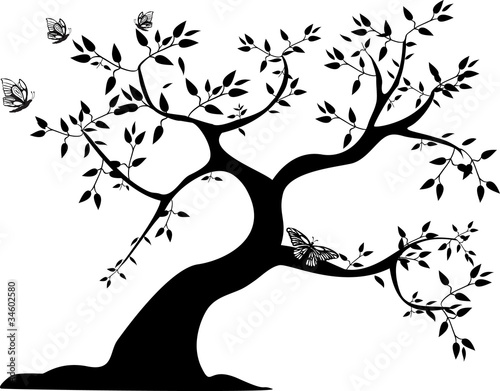 Fotografie, Obraz  black tree with butterflies
