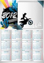 2012 A3 Calendar For 12 Months. Vector Illustration