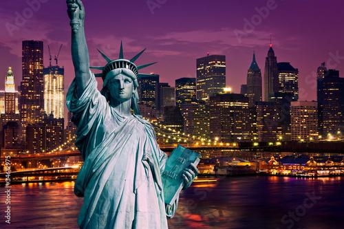 Poster Lieux connus d Amérique New York Manhattan statue de la Liberté