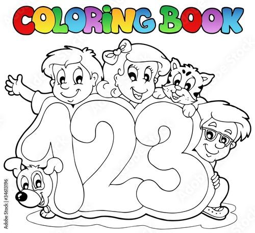 Spoed Foto op Canvas Doe het zelf Coloring book school numbers