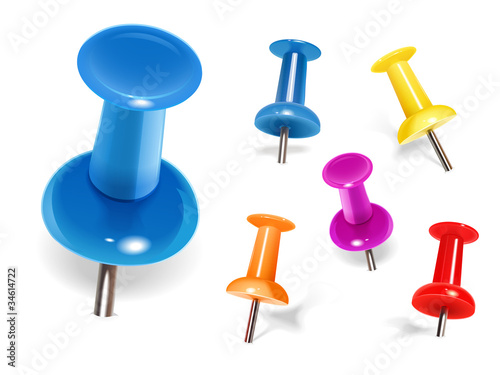 Fotografía  Set of color pins. Vector