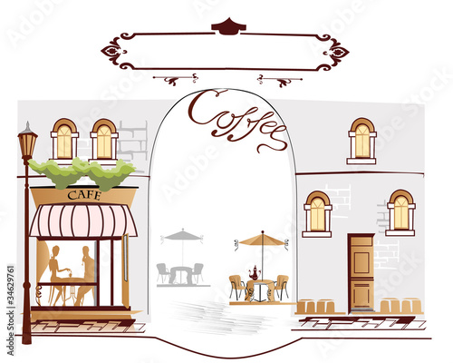 Tuinposter Drawn Street cafe Series of street cafe