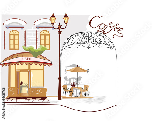 Photo sur Toile Drawn Street cafe Series of street cafe