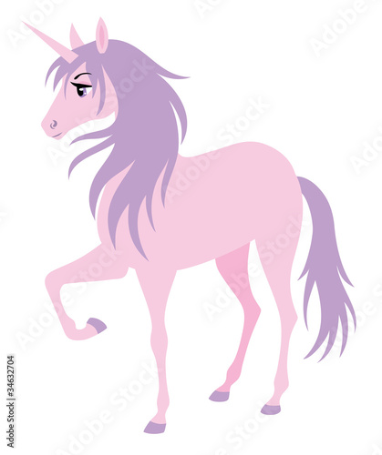 Deurstickers Pony Cute pink unicorn with a purple hair.