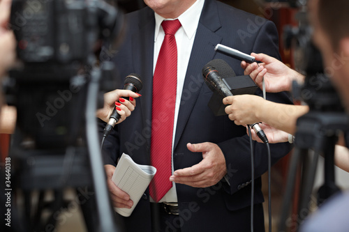 Fototapeta business meeting conference journalism microphones obraz