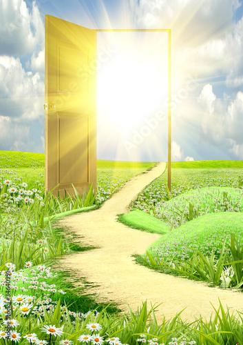 Tuinposter Zwavel geel Sun rays passing through an open door