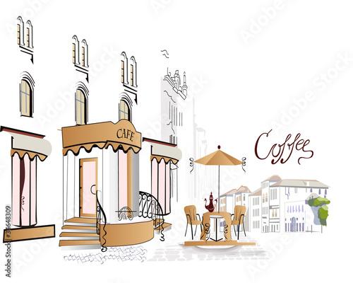 Foto auf AluDibond Gezeichnet Straßenkaffee Series of street cafe