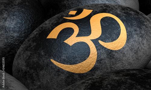 Schwarze Steine mit Om Zeichen - gold Canvas Print