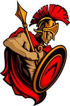 Spartan Trojan Mascot With Spe...