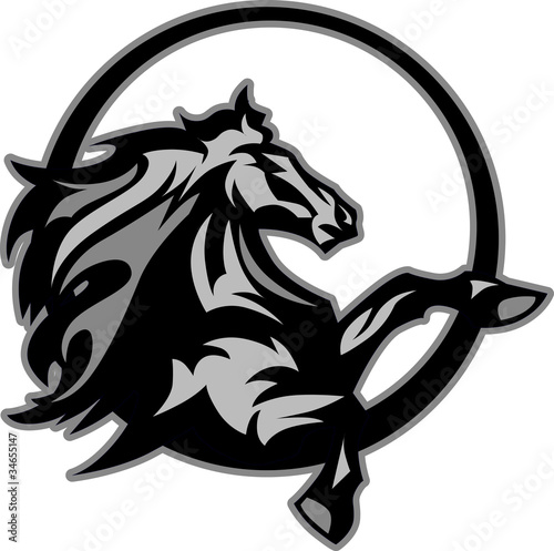 Photo  Mustang Stallion Graphic Mascot Image