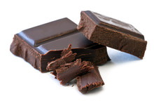Chocolate Over White Background, Dark Chocolate Isolated