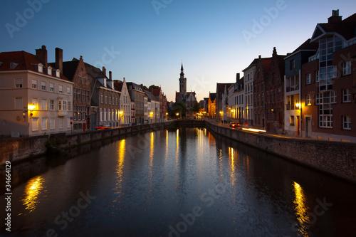Wall Murals Bridges Canale a Bruges (Brugge), Belgio