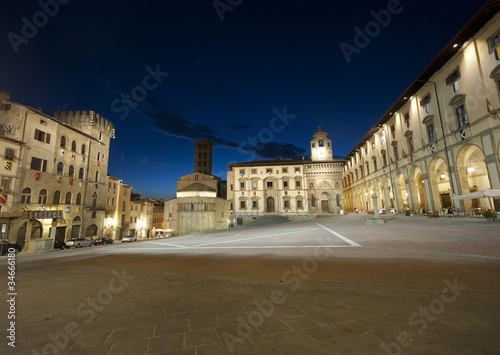 Medieval square in Arezzo (Tuscany, Italy) at night Canvas Print