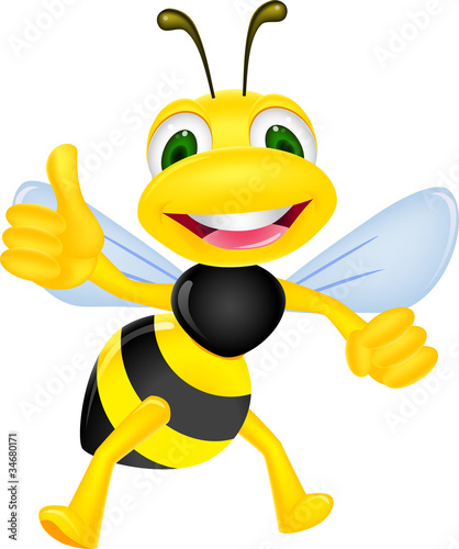 Photo  Cute bee with thumb up