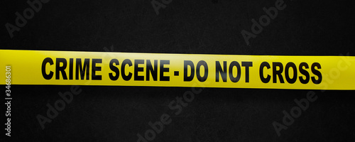 Leinwand Poster Crime scene yellow tape with clipping path