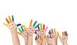 Leinwandbild Motiv mehrere bemalte Kinderhände mit rechter und linker Hand