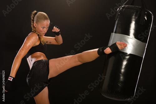 Foto-Stoff bedruckt - thaiboxerin (von photo-corona)